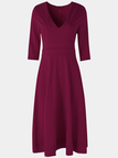 Burgundy Deep V Neck Half Sleeves Swing Party Dresses