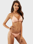 Pink Tie-up Backless Bikini Set