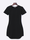 Sexy Black Curved hem Bodycon Fit Dress With Short Sleeves