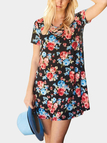 Random Floral Print Calico Cross Front Mini Dress