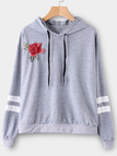 Grey Embroidered Pullover Sports Hoodies