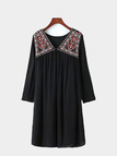 Embroidery Front V Neck Dress