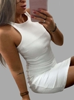 White Crew Neck Sleevesless Bodycon Dress