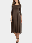 Coffee Round Neck 3/4 Length Sleeves Midi Dress