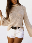 Khaki Roll Neck Dolman Sleeve Criss-cross Open Back Knitwear with Lace-up Design