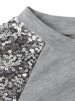 Grey Crew Neck Sequin Sleeves Top