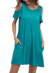 Green Side Pockets Cold Shoulder Mini Dresses