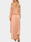 Pink Lace Insert Hollow Out Off Shoulder Party Dresses