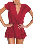 V-neck Wrap Front Playsuit in Red