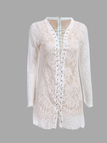 Crochet Lace Mini Dress with Long Sleeves