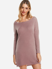 Pink Solid Color Round Neck Long Sleeves Sweater Dresses