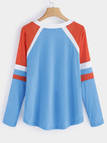 Blue Lace-up Design Round V-neck Long Sleeves T-shirts