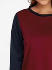 Burgundy & Black Color Block Crew Neck Long Sleeves Casual Sweatshirt