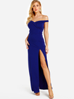 Blue Off Shoulder Slit Hem Maxi Dress
