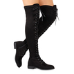 Black Lace-up Over Knee Boots