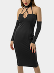 Black Bodycon Lace-up Cut Out Halter Party Dress With Oversleeves