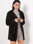 Black Open Front Hooded Design Faux Fur Coat