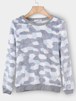 Blue Plus Cashmere Stone Pattern Long Sleeves Top
