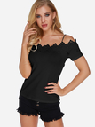 Black Lace Trim Cold Shoulder Short Sleeves Blouses With Elastic Shoulder Strap