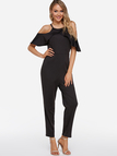Black Zip Back Design Halter Short Sleeves Jumpsuit
