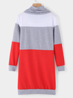Grey High Neck With Drawstring Stitching Design Pullover Dress
