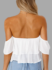 White Sexy Off Shoulder Backless Crop Top