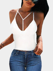White Spaghetti V-neck Bodycon Camis