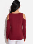 Burgundy Cold Shoulder Crossed Sexy Blouse