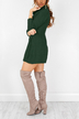 Green High Neck Long Sleeves Knit Casual Dress