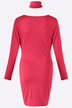 Red V-neck Long Sleeves Bodycon Dress with Choker