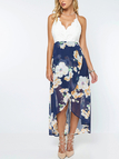 Front Floral Print Maxi Dress with Lace Details