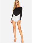 Black Round Neck Long Sleeves Backless Lace Details Bodysuit
