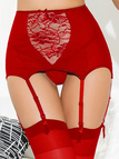 Red Hollow Out Lace Insert High Waist Suspender Garters & Panties