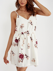 White Self-tie Design Random Floral Prin V Neck Mini Dress