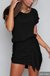 Black Round Neck Self-tie Design Mini Dress