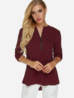 Burgundy Zip Design V-neck Adjustable Length Sleeves Curve Hem Blouse