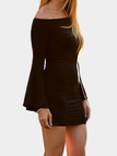 Black Off Shoulder Bell Sleeves Bodycon Mini Dresses