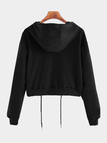 Black Grey Basic Self-tied Hoodie