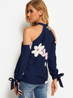 Navy Hollow Front Random Floral Print Cold Shoulder Self-tie Design Long Sleeves Blouses