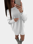 White Pullover Long Sleeves Sweater Dress