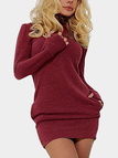 Burgundy Roll Neck Casual Dress with Two Side Pockets