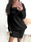 Black Side Pockets Roll Neck Long Sleeves Casual Dress