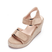 Apricot Nubuck Look Woven Wedge With Tassel