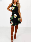 Black Floral Random Print Round Neck Sleeveless Dress