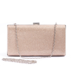 Champagne Glitter Clutch Bag with Chain Strap