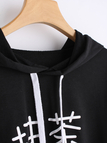 Black Hooded Printed Short Sweatshirt