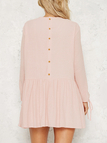 Pink Long Sleeves Ruffle Hem Mini Dresses with Button Back