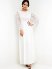 White Lace Insert Overlay High-waisted Flared Ocassion Maxi Dress