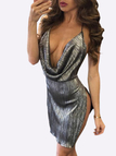 Sexy Glittering V-neck & Backless Mini Party Dress in Silver