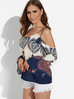 Apricot Printed Cold Shoulder Fashion Strap Blouse